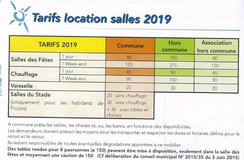 tarif sdf 2019